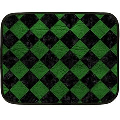Square2 Black Marble & Green Leather Double Sided Fleece Blanket (mini)