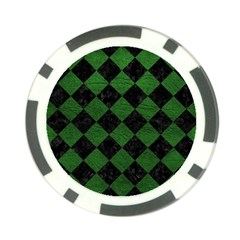 Square2 Black Marble & Green Leather Poker Chip Card Guard (10 Pack)