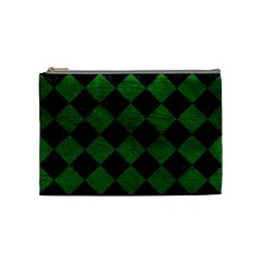 Square2 Black Marble & Green Leather Cosmetic Bag (medium)