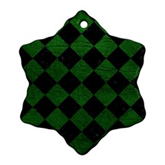 Square2 Black Marble & Green Leather Ornament (snowflake)