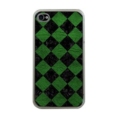 Square2 Black Marble & Green Leather Apple Iphone 4 Case (clear)