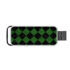 Square2 Black Marble & Green Leather Portable Usb Flash (two Sides)