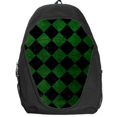Square2 Black Marble & Green Leather Backpack Bag