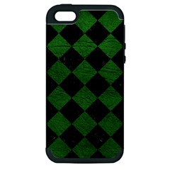 Square2 Black Marble & Green Leather Apple Iphone 5 Hardshell Case (pc+silicone)