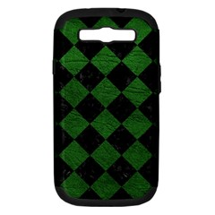 Square2 Black Marble & Green Leather Samsung Galaxy S Iii Hardshell Case (pc+silicone)