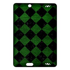 Square2 Black Marble & Green Leather Amazon Kindle Fire Hd (2013) Hardshell Case