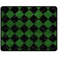 Square2 Black Marble & Green Leather Double Sided Fleece Blanket (medium)