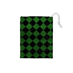 Square2 Black Marble & Green Leather Drawstring Pouches (small)