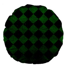 Square2 Black Marble & Green Leather Large 18  Premium Flano Round Cushions