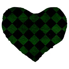 Square2 Black Marble & Green Leather Large 19  Premium Flano Heart Shape Cushions