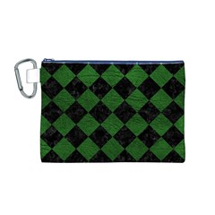 Square2 Black Marble & Green Leather Canvas Cosmetic Bag (m)
