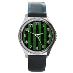 Stripes1 Black Marble & Green Leather Round Metal Watch