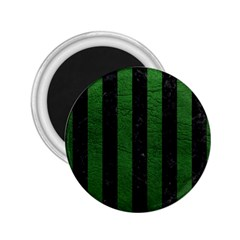 Stripes1 Black Marble & Green Leather 2 25  Magnets