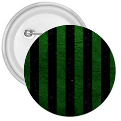 Stripes1 Black Marble & Green Leather 3  Buttons