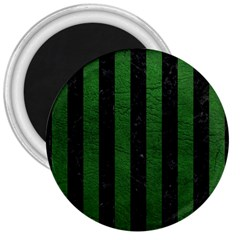 Stripes1 Black Marble & Green Leather 3  Magnets