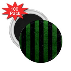Stripes1 Black Marble & Green Leather 2 25  Magnets (100 Pack)