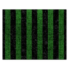 Stripes1 Black Marble & Green Leather Rectangular Jigsaw Puzzl