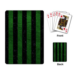 Stripes1 Black Marble & Green Leather Playing Card