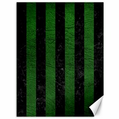 Stripes1 Black Marble & Green Leather Canvas 36  X 48