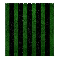 Stripes1 Black Marble & Green Leather Shower Curtain 66  X 72  (large)
