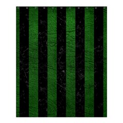 Stripes1 Black Marble & Green Leather Shower Curtain 60  X 72  (medium)