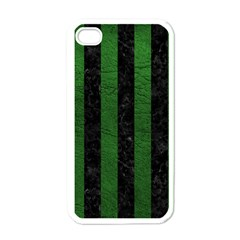 Stripes1 Black Marble & Green Leather Apple Iphone 4 Case (white)