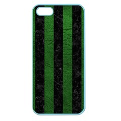 Stripes1 Black Marble & Green Leather Apple Seamless Iphone 5 Case (color)