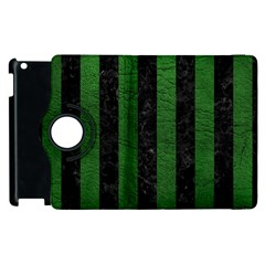 Stripes1 Black Marble & Green Leather Apple Ipad 2 Flip 360 Case