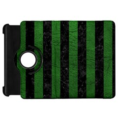 Stripes1 Black Marble & Green Leather Kindle Fire Hd 7