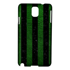 Stripes1 Black Marble & Green Leather Samsung Galaxy Note 3 N9005 Hardshell Case