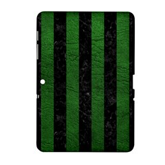 Stripes1 Black Marble & Green Leather Samsung Galaxy Tab 2 (10 1 ) P5100 Hardshell Case