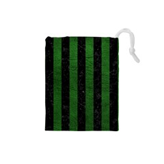 Stripes1 Black Marble & Green Leather Drawstring Pouches (small)