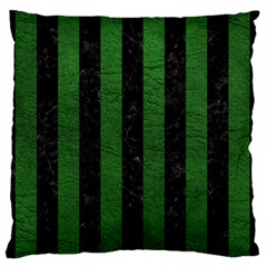 Stripes1 Black Marble & Green Leather Large Flano Cushion Case (one Side)