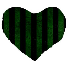 Stripes1 Black Marble & Green Leather Large 19  Premium Flano Heart Shape Cushions