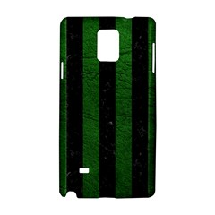 Stripes1 Black Marble & Green Leather Samsung Galaxy Note 4 Hardshell Case
