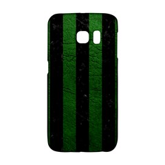 Stripes1 Black Marble & Green Leather Galaxy S6 Edge