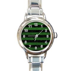 Stripes2 Black Marble & Green Leather Round Italian Charm Watch