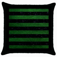 Stripes2 Black Marble & Green Leather Throw Pillow Case (black)