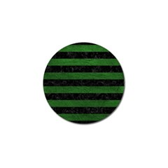 Stripes2 Black Marble & Green Leather Golf Ball Marker