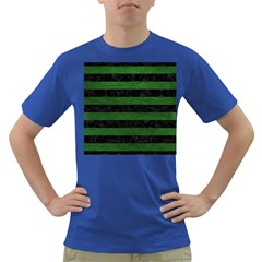 Stripes2 Black Marble & Green Leather Dark T Shirt