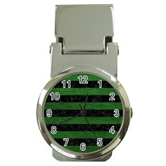 Stripes2 Black Marble & Green Leather Money Clip Watches