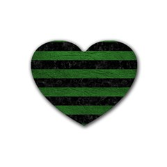 Stripes2 Black Marble & Green Leather Rubber Coaster (heart)