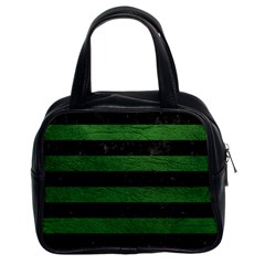 Stripes2 Black Marble & Green Leather Classic Handbags (2 Sides)