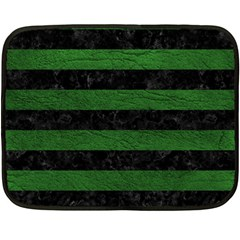 Stripes2 Black Marble & Green Leather Fleece Blanket (mini)
