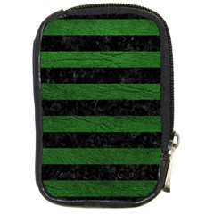 Stripes2 Black Marble & Green Leather Compact Camera Cases