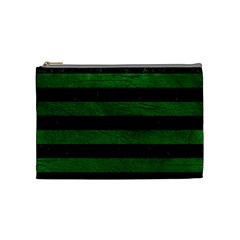 Stripes2 Black Marble & Green Leather Cosmetic Bag (medium)