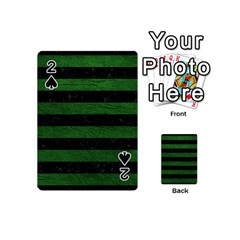 Stripes2 Black Marble & Green Leather Playing Cards 54 (mini)