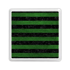 Stripes2 Black Marble & Green Leather Memory Card Reader (square)