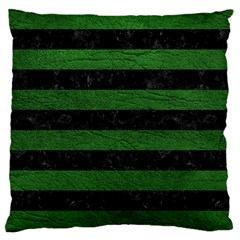 Stripes2 Black Marble & Green Leather Large Cushion Case (one Side)