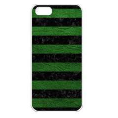 Stripes2 Black Marble & Green Leather Apple Iphone 5 Seamless Case (white)